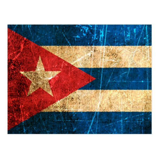 Scratched and Worn Vintage Cuban Flag Postcard