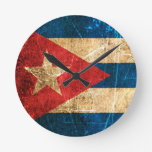 Scratched and Worn Vintage Cuban Flag Round Clock