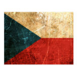 Scratched and Worn Vintage Czech Republic Flag Postcard