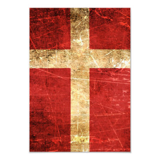 Scratched and Worn Vintage Danish Flag 3.5x5 Paper Invitation Card