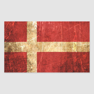 Scratched and Worn Vintage Danish Flag Stickers