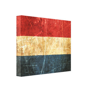 Scratched and Worn Vintage Dutch Flag Canvas Print