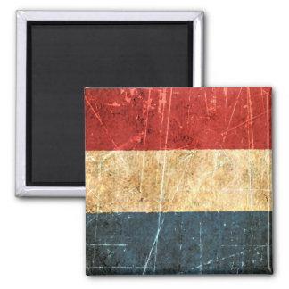Scratched and Worn Vintage Dutch Flag Magnet