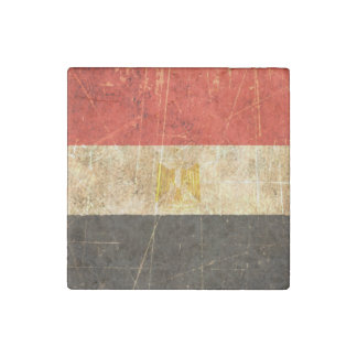 Scratched and Worn Vintage Egyptian Flag Stone Magnet