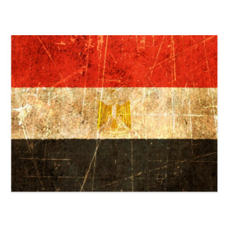 Scratched and Worn Vintage Egyptian Flag Postcard