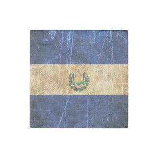 Scratched and Worn Vintage El Salvador Flag Stone Magnet