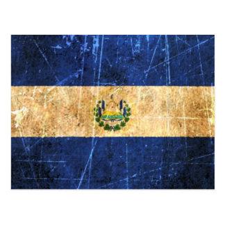 Scratched and Worn Vintage El Salvador Flag Postcard