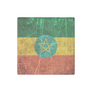 Scratched and Worn Vintage Ethiopian Flag Stone Magnet