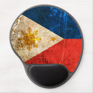 Scratched and Worn Vintage Filipino Flag Gel Mouse Pad