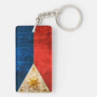 Scratched and Worn Vintage Filipino Flag Keychain