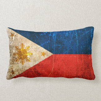Scratched and Worn Vintage Filipino Flag Lumbar Pillow