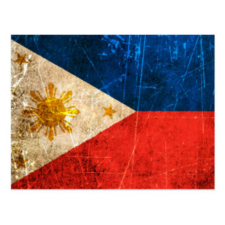 Scratched and Worn Vintage Filipino Flag Postcard