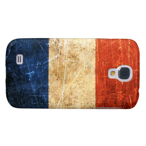 Scratched and Worn Vintage French Flag Galaxy S4 Covers
