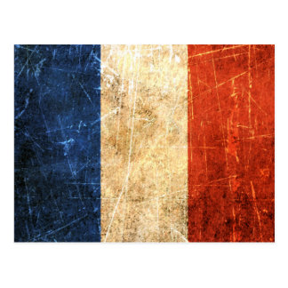 Scratched and Worn Vintage French Flag Postcard