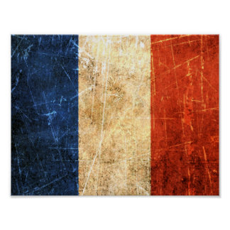 Scratched and Worn Vintage French Flag Poster