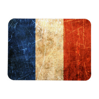 Scratched and Worn Vintage French Flag Vinyl Magnet