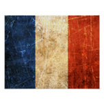 Scratched and Worn Vintage French Flag Print