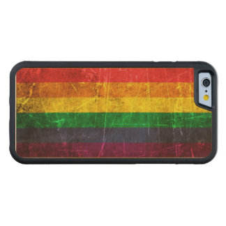 Scratched and Worn Vintage Gay Pride Rainbow Flag Carved Maple iPhone 6 Bumper Case