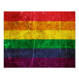 Scratched and Worn Vintage Gay Pride Rainbow Flag Poster