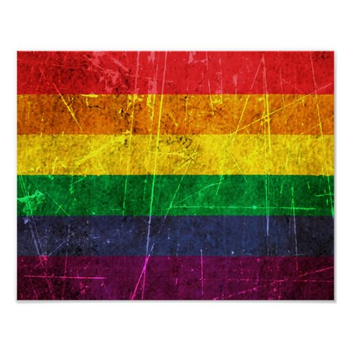 Scratched and Worn Vintage Gay Pride Rainbow Flag Posters