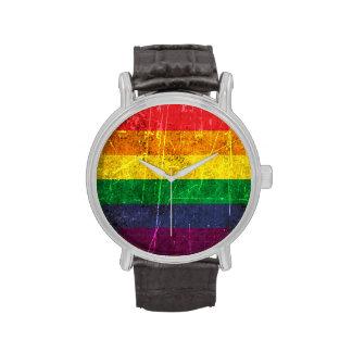 Scratched and Worn Vintage Gay Pride Rainbow Flag Wrist Watch