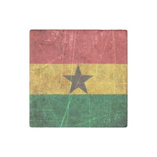 Scratched and Worn Vintage Ghana Flag Stone Magnet