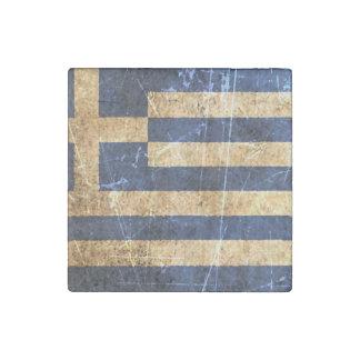 Scratched and Worn Vintage Greek Flag Stone Magnet