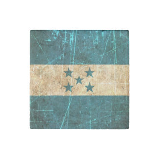 Scratched and Worn Vintage Honduran Flag Stone Magnet