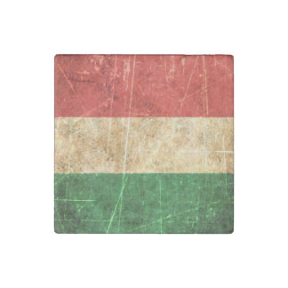 Scratched and Worn Vintage Hungarian Flag Stone Magnet