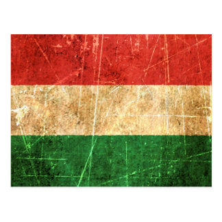 Scratched and Worn Vintage Hungarian Flag Postcard
