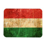 Scratched and Worn Vintage Hungarian Flag Flexible Magnets