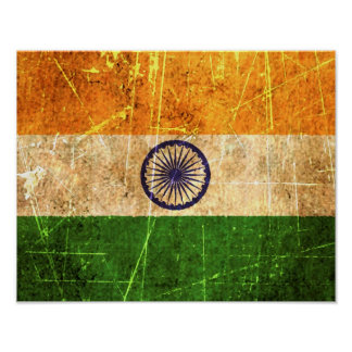 Scratched and Worn Vintage Indian Flag Posters