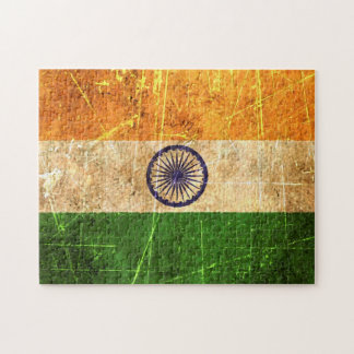 Scratched and Worn Vintage Indian Flag Puzzles