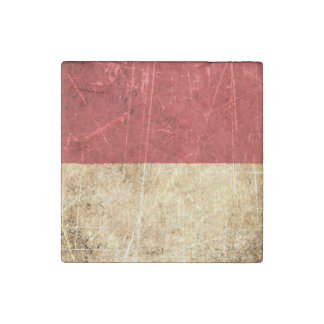 Scratched and Worn Vintage Indonesian Flag Stone Magnet