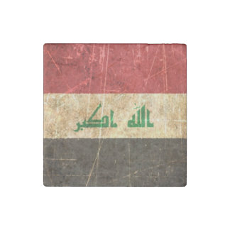 Scratched and Worn Vintage Iraqi Flag Stone Magnet