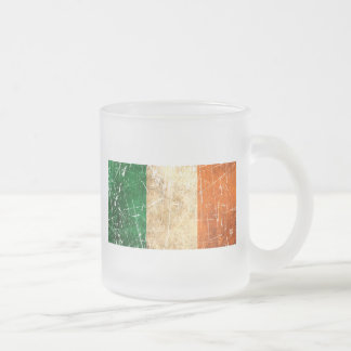 Scratched and Worn Vintage Irish Flag Frosted Glass Coffee Mug