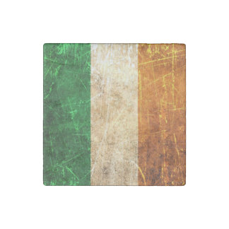 Scratched and Worn Vintage Irish Flag Stone Magnet
