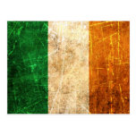 Scratched and Worn Vintage Irish Flag Post Card