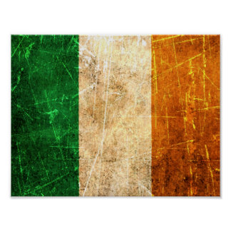 Scratched and Worn Vintage Irish Flag Poster
