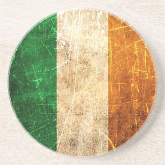 Scratched and Worn Vintage Irish Flag Sandstone Coaster