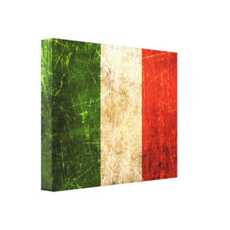 Scratched and Worn Vintage Italian Flag Gallery Wrapped Canvas