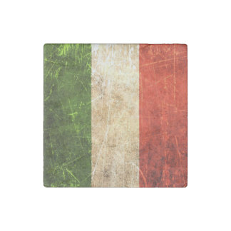 Scratched and Worn Vintage Italian Flag Stone Magnet