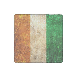 Scratched and Worn Vintage Ivory Coast Flag Stone Magnet