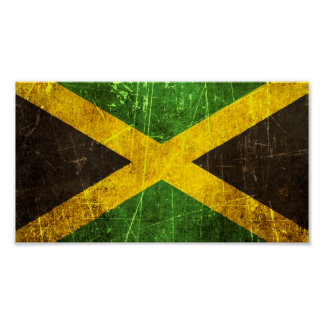 Scratched and Worn Vintage Jamaican Flag Poster