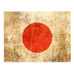 Scratched and Worn Vintage Japanese Flag Post Card