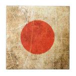 Scratched and Worn Vintage Japanese Flag Tiles