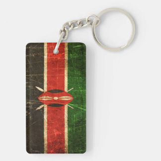 Scratched and Worn Vintage Kenyan Flag Double-Sided Rectangular Acrylic Keychain