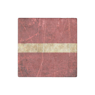 Scratched and Worn Vintage Latvian Flag Stone Magnet