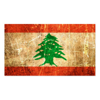 Scratched and Worn Vintage Lebanese Flag Business Card Templates