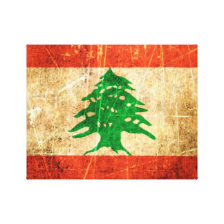 Scratched and Worn Vintage Lebanese Flag Gallery Wrap Canvas